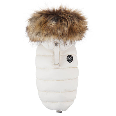 luxe double down vest with faux fur hood - ivory