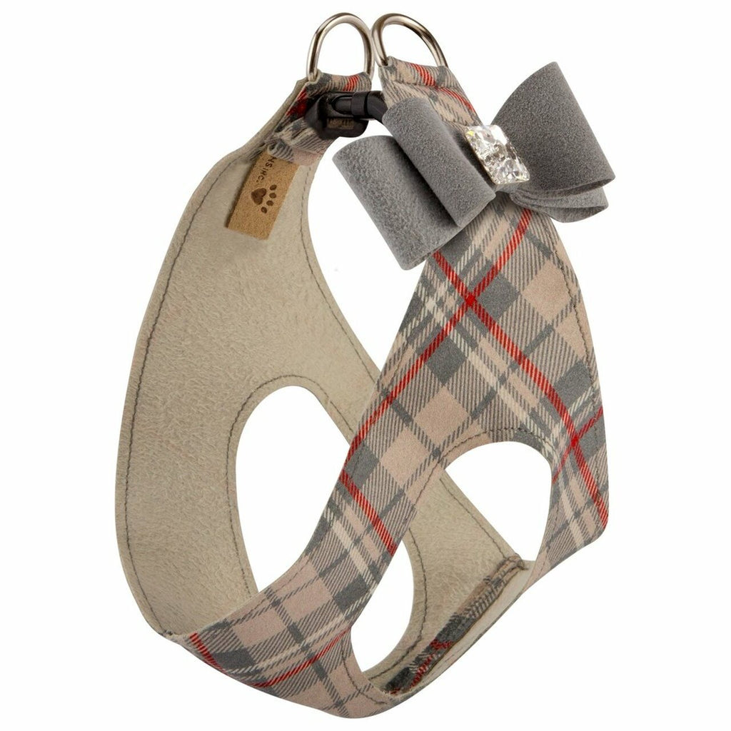 ultra-suede step in bow harness  - scotty plaid - available in s/m!