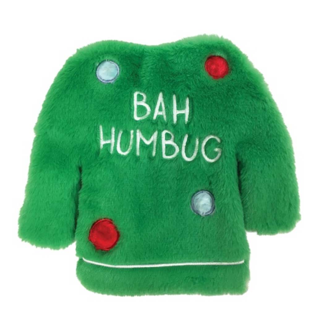 fuzzy stuffless crinkle ugly sweater toy - green