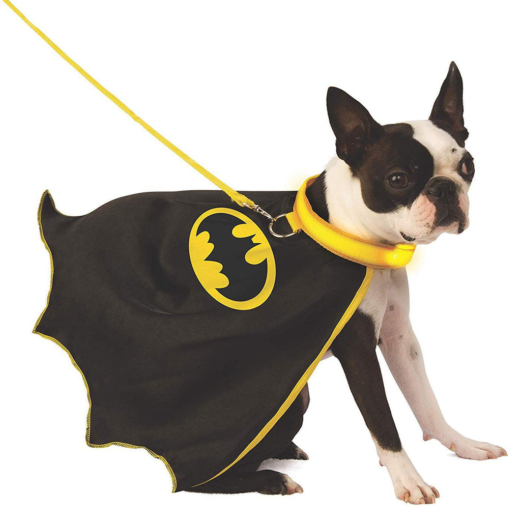 bat man cape with light-up collar & leash