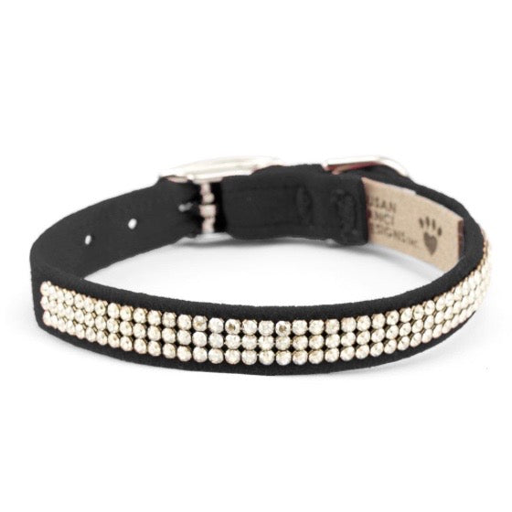 3 row glam suede collar - black