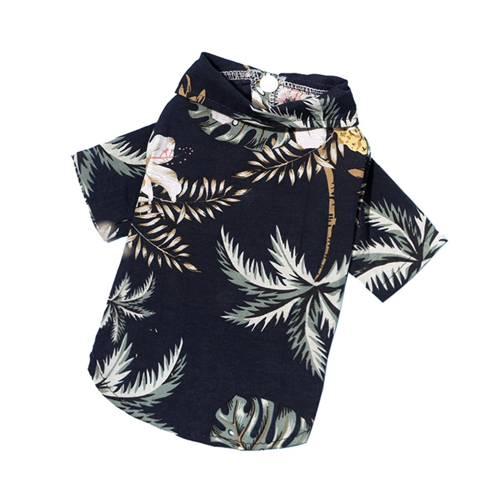 black hawaiian button down shirt