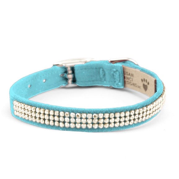 3 row glam suede collar - tiff blue