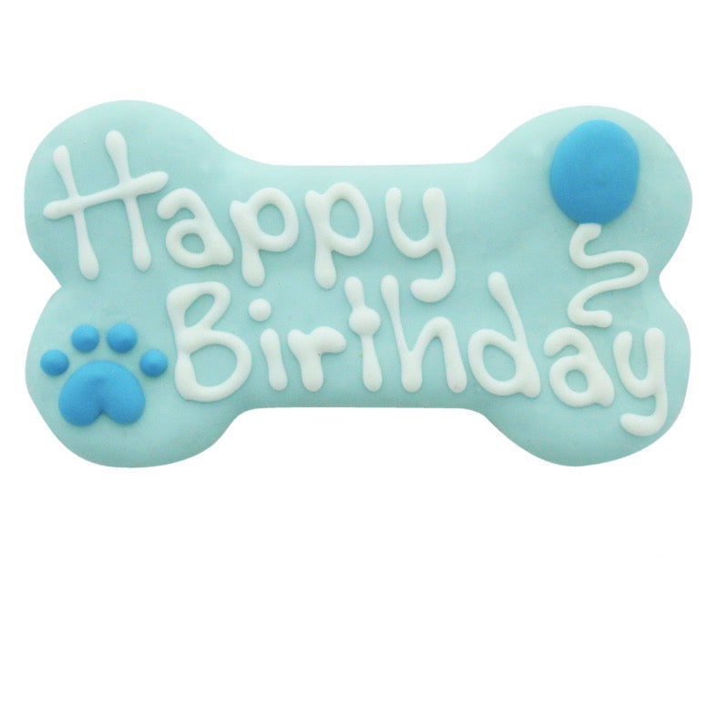 blue happy birthday bone