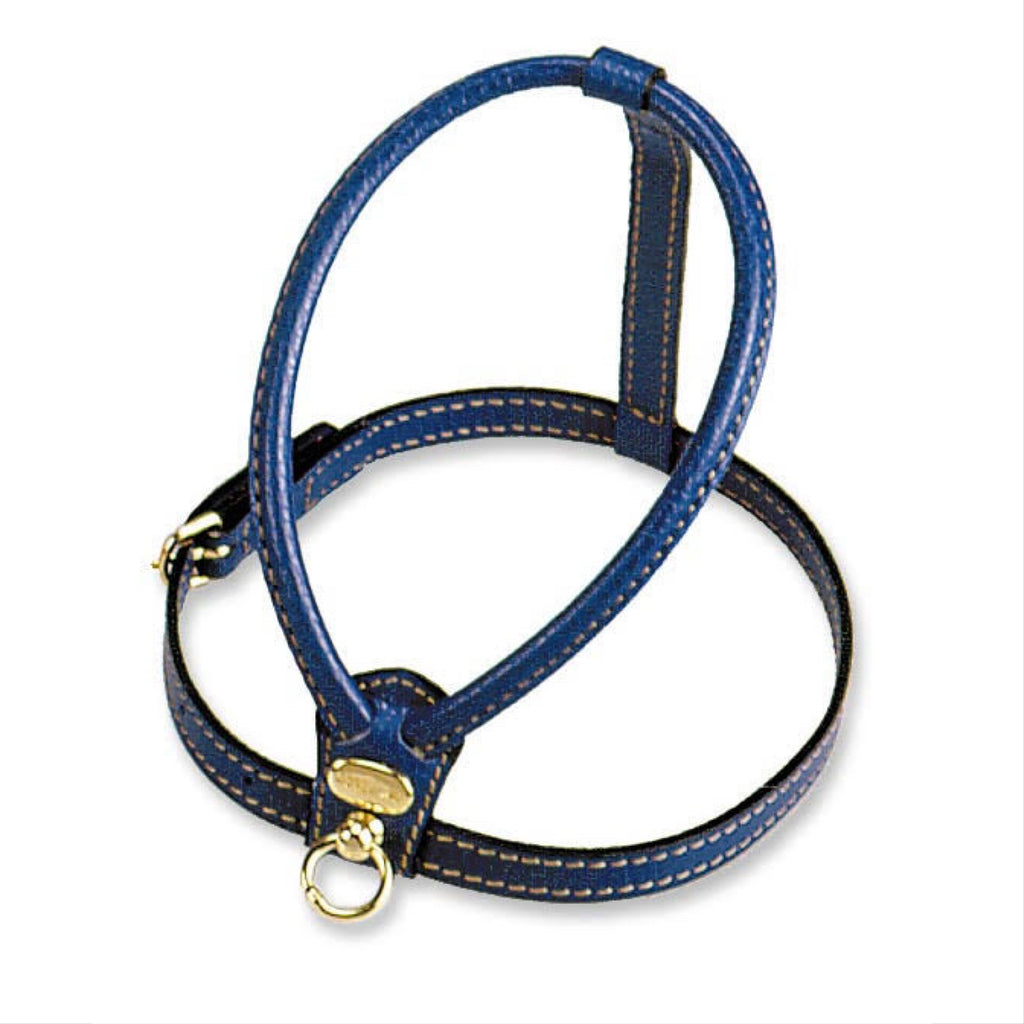italian leather harness - blue