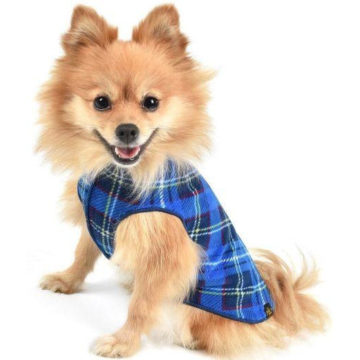 blue plaid stretch fleece