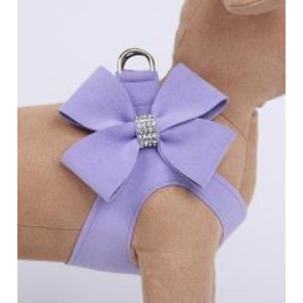 ultra-suede step in harness with bow - french lavender