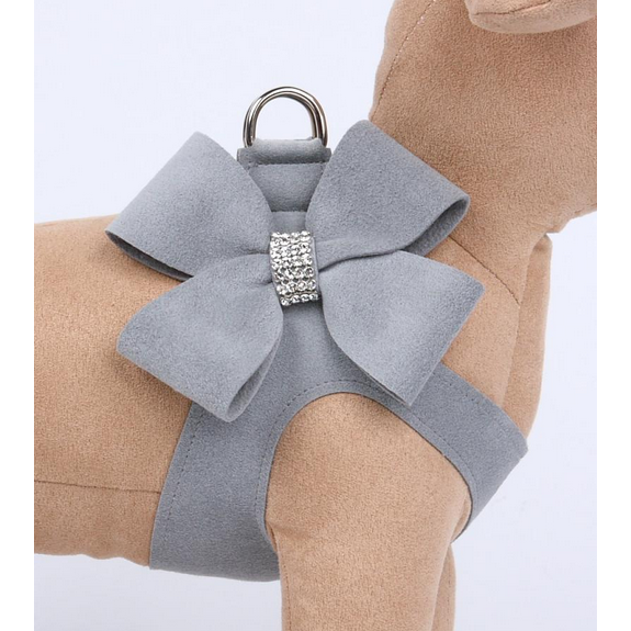 ultra-suede step in bow harness  - platinum