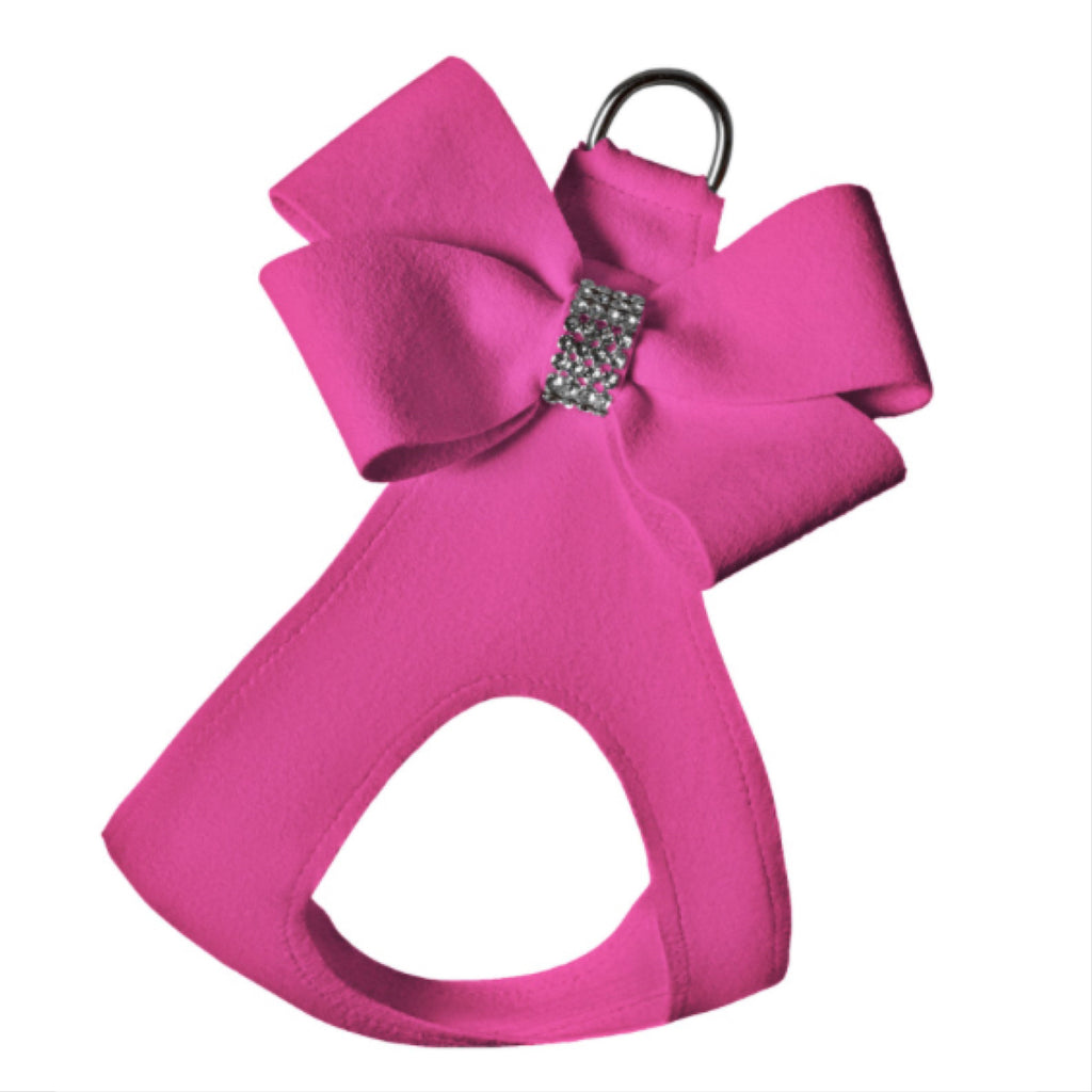 ultra-suede step in bow harness  - sapphire pink