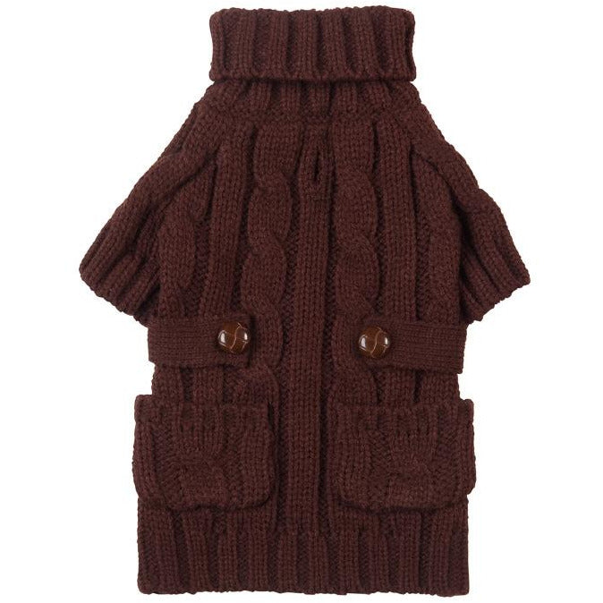 "brown pocket cable knit - 20"" only"