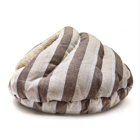 burger bed - brown stripes