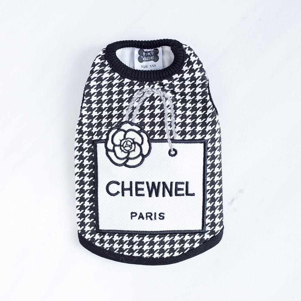 chewnel houndstooth tank - grey or pink or black