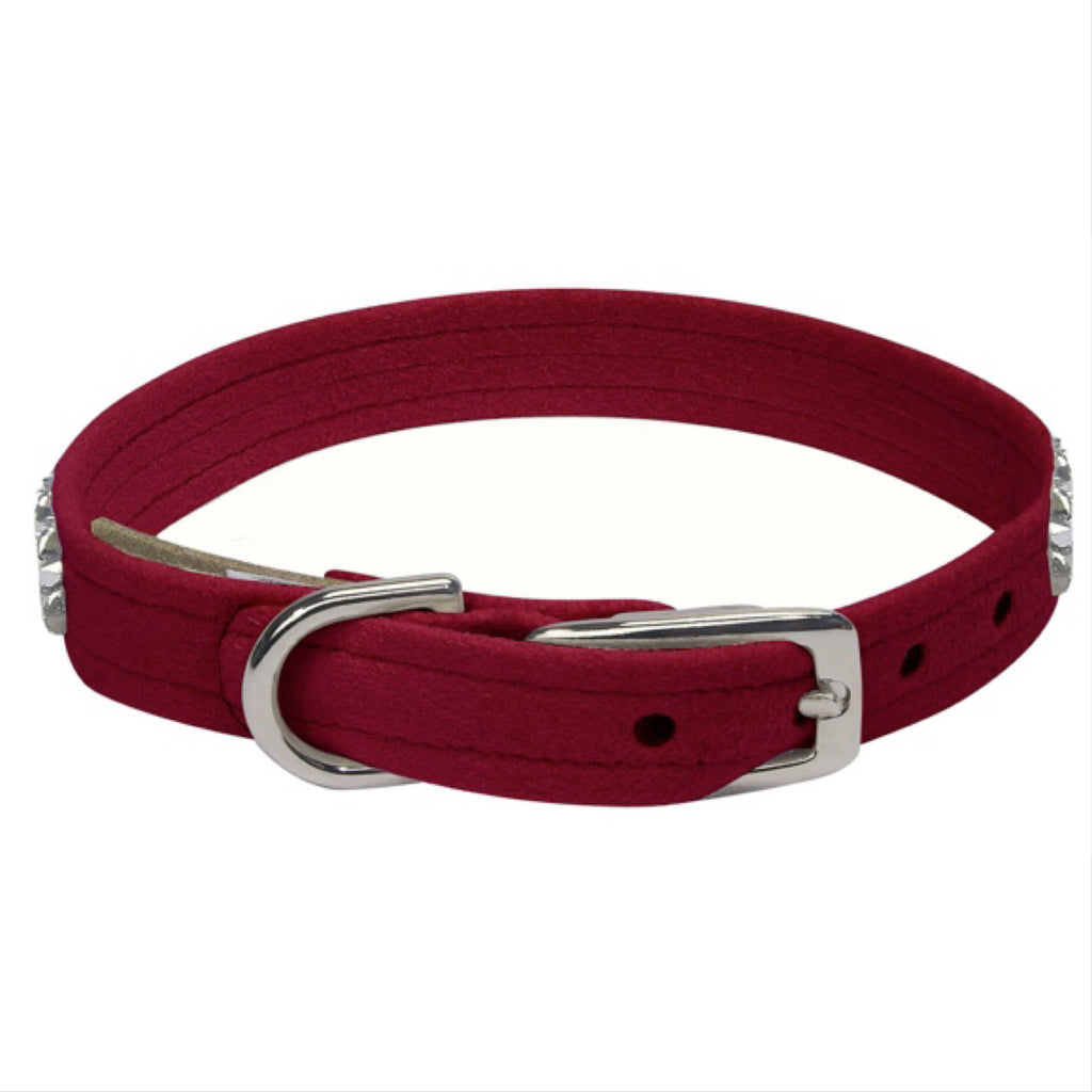sparkly crystal suede collar - burgundy - available in xsmalll!