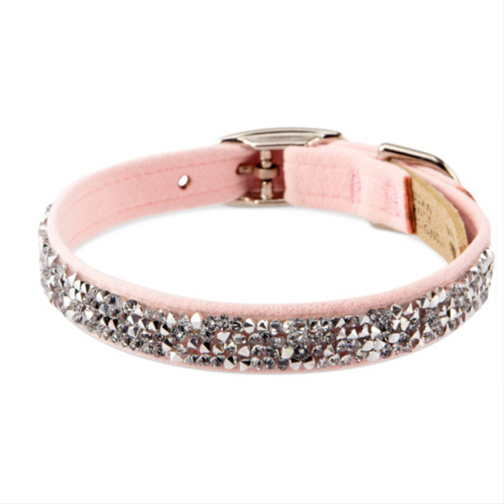 sparkly crystal suede collar - puppy pink - available in teacup!