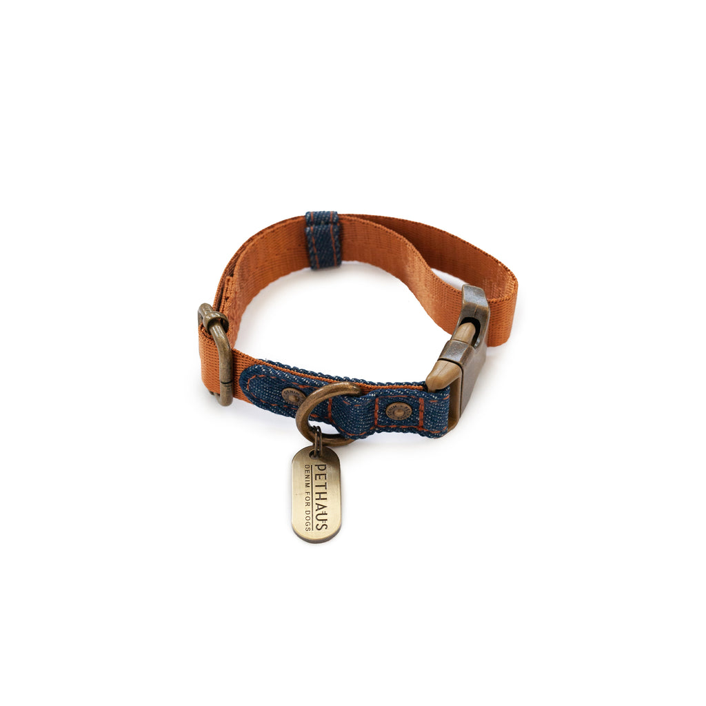tan denim collar