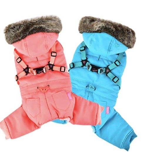 evelyn snowsuit - available in pink and teal