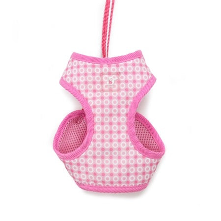 easy go harness and leash set - pink dots