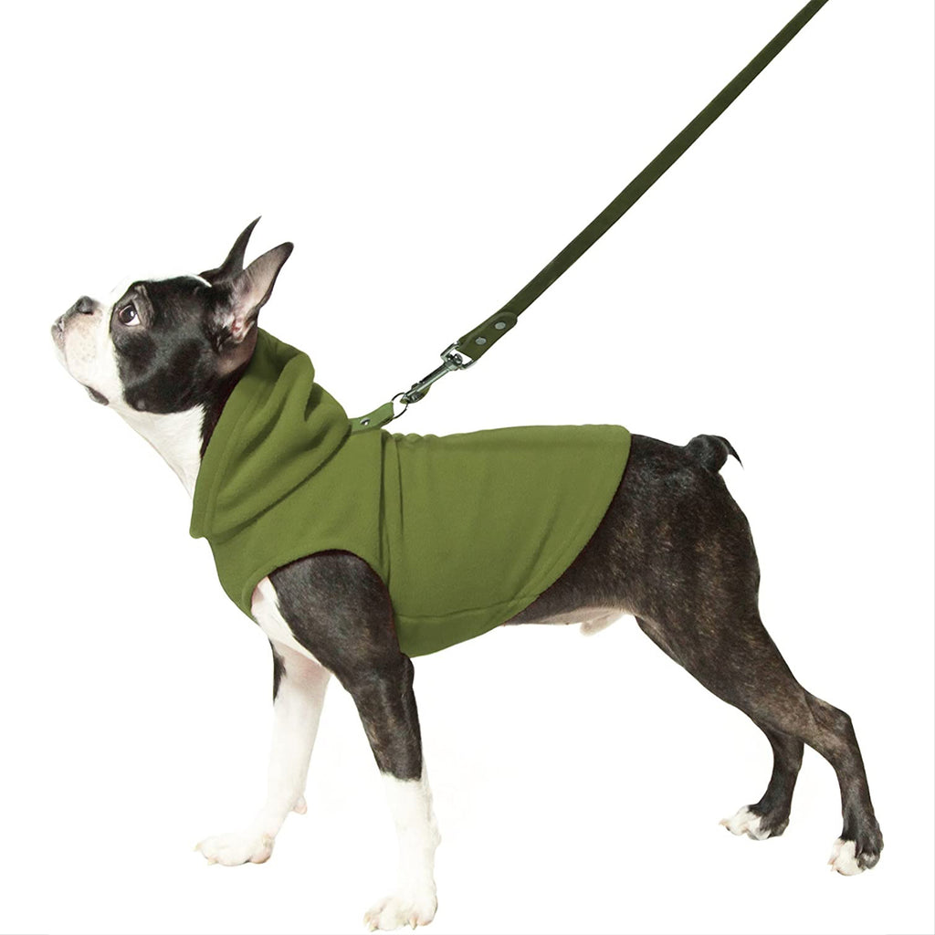 fleece hoodie with leash attachment - green