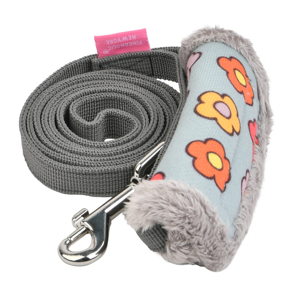 flower power leash - grey