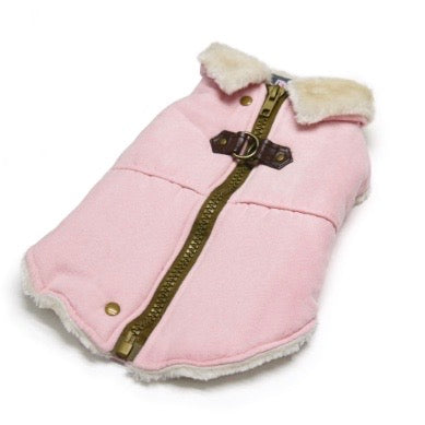pink furry runner coat