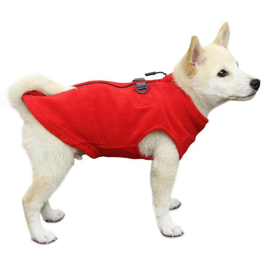 zip-up fleece with leash attachment - red