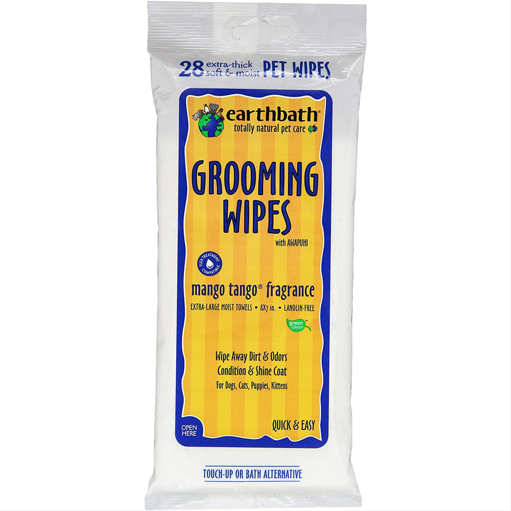 earthbath mango tango grooming wipes - 28 wipes
