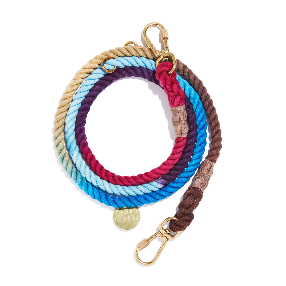 mood ring ombre cotton rope leash - adjustable