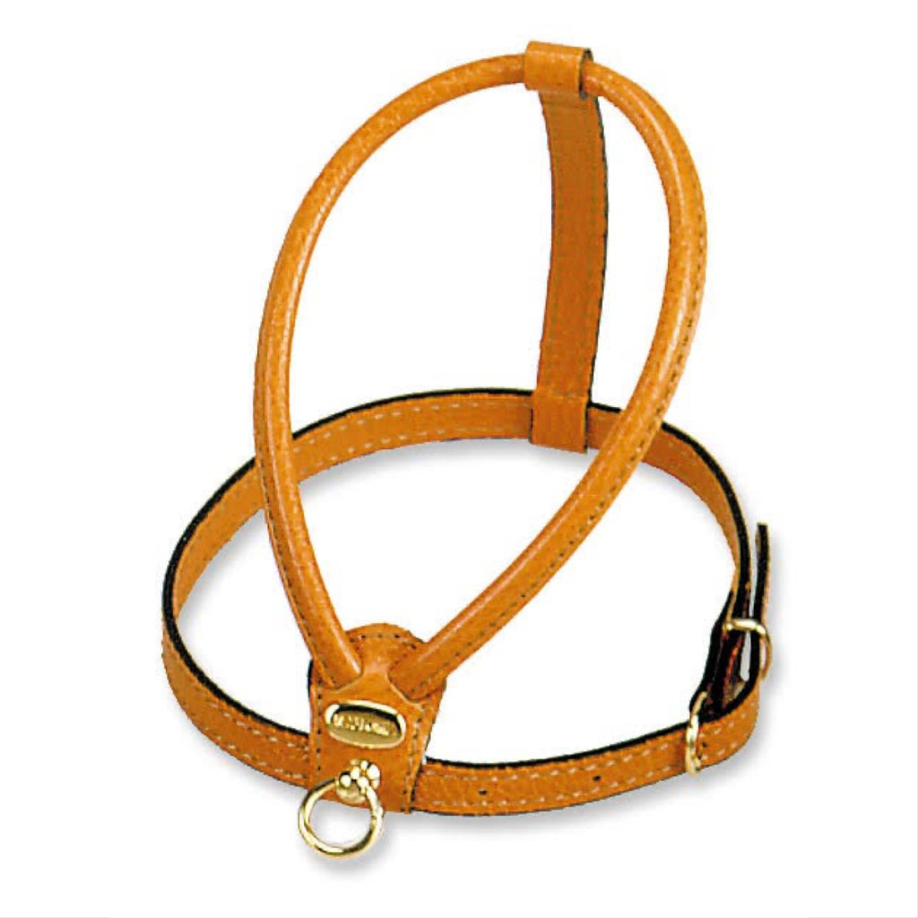 italian leather harness - orange
