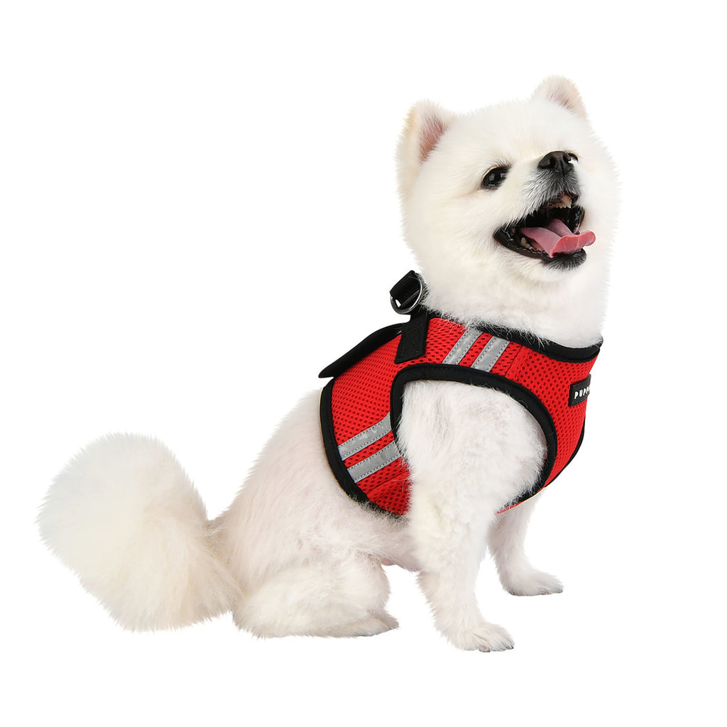 soft vest harness with reflective strips - red