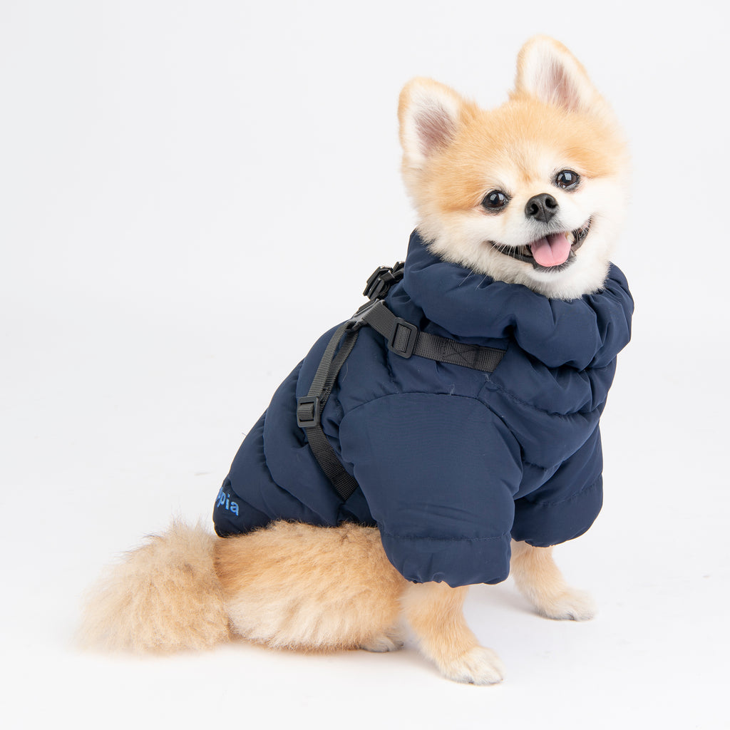 soft coat with built-in harness - navy