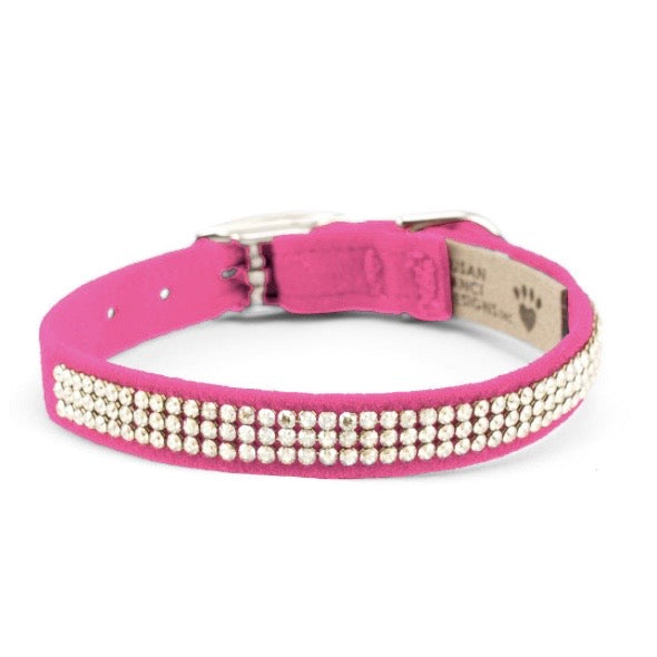 3 row glam suede collar - perfect pink