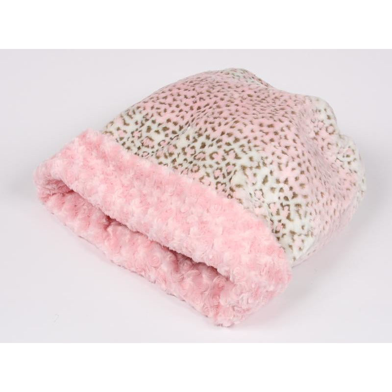 cuddle cup bed - pink lynx with rosettes