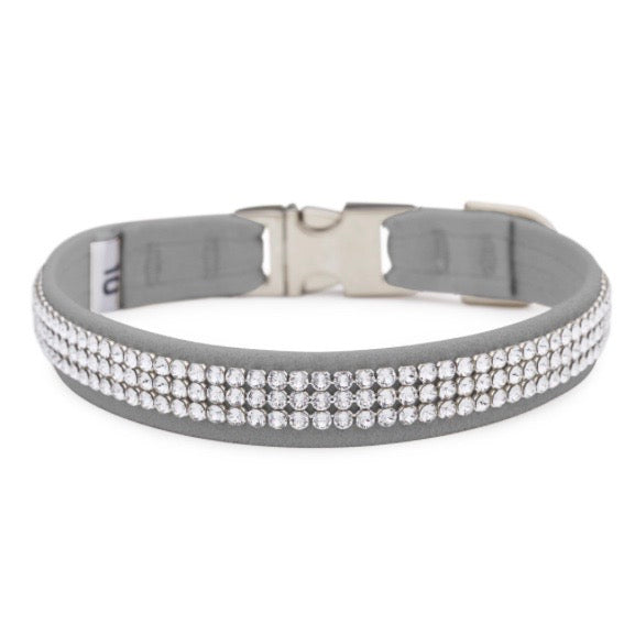 3 row glam suede collar - platinum