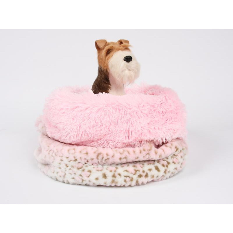 cuddle cup bed - pink lynx with pink shag