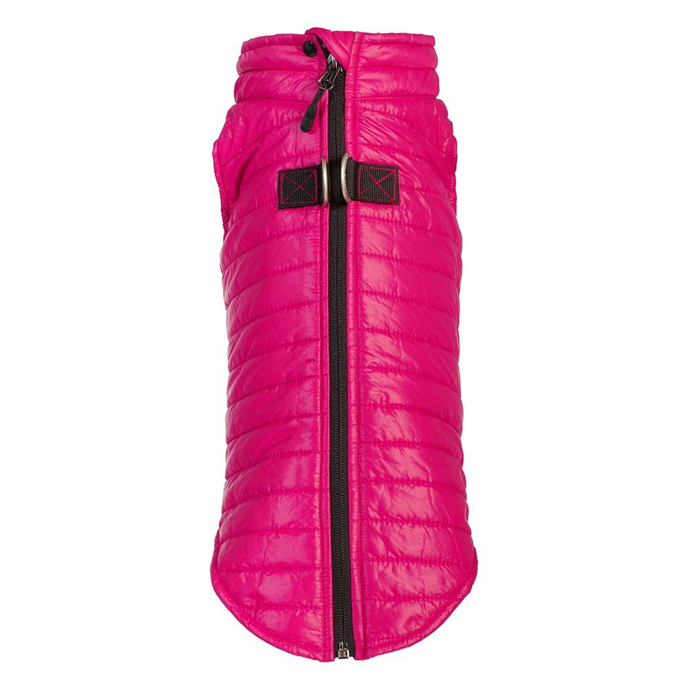 puffer vest with leash attachment - pink