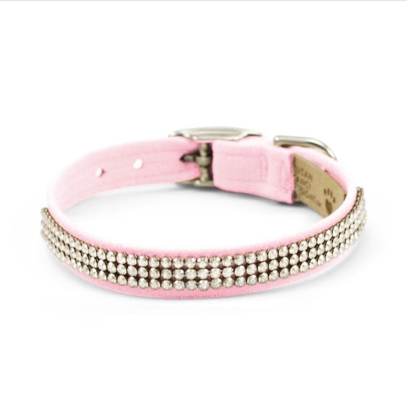 3 row glam suede collar - puppy pink