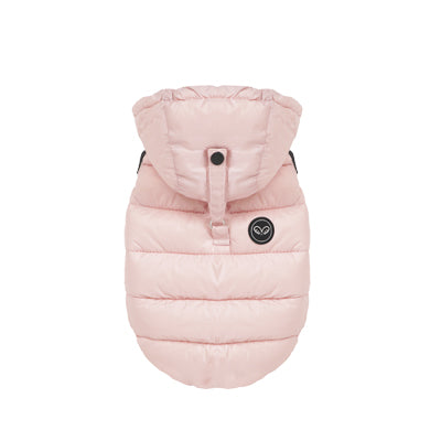 lightweight padding coat with hood - pink