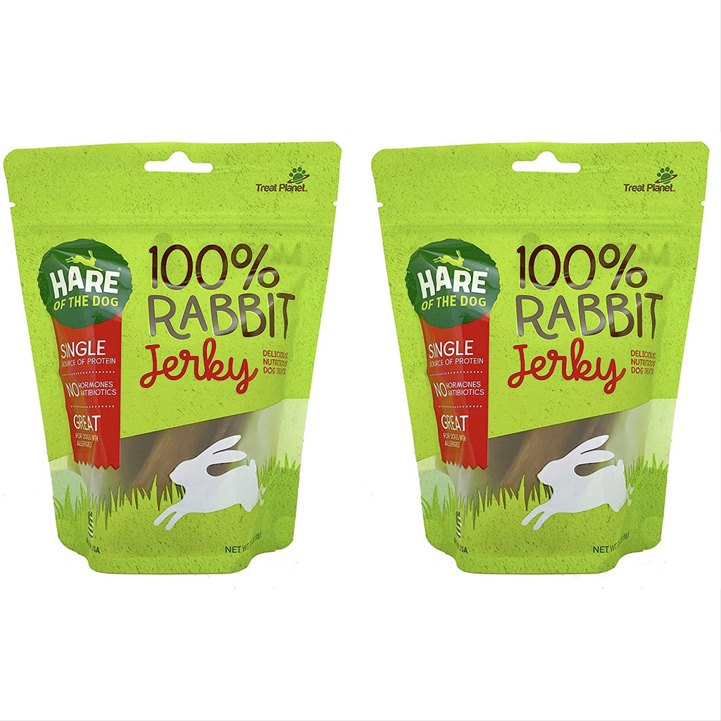 hare of the dog rabbit jerky - available in 3.5 oz bag or single jerky strips
