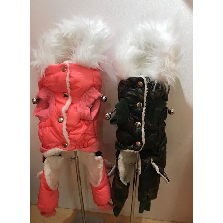 cozy snowsuit - pink or camo
