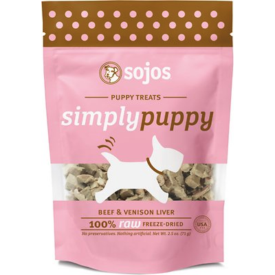 sojos simply beef & venison puppy freeze-dried dog treats