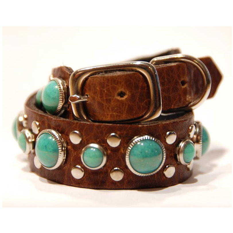 stud and stone collar on waxbrown leather