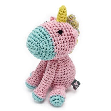 unicorn crochet squeaker toy