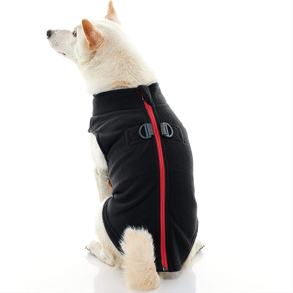 zip-up fleece with leash attachment - black