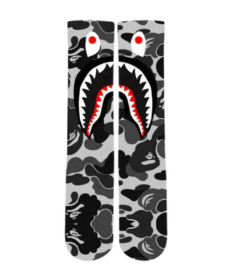 Bathing Ape Camo Grey design all over printed crew socks - Dope Sox Official