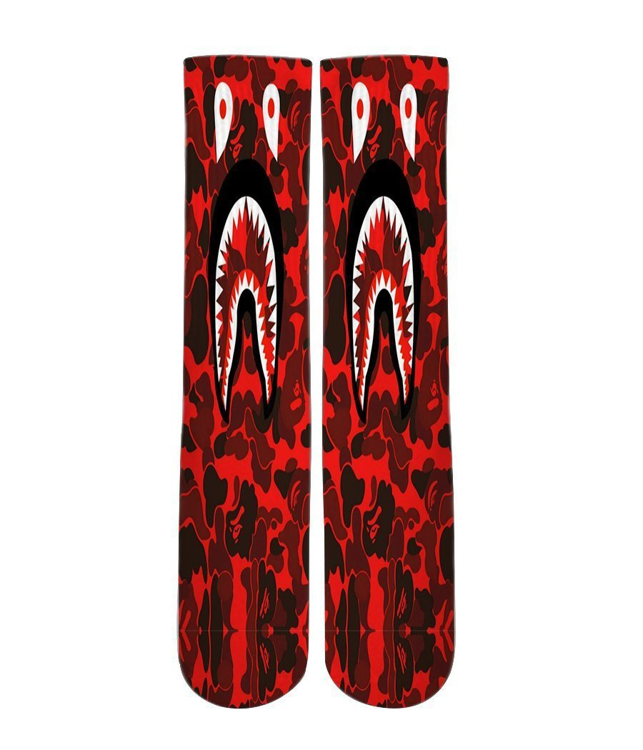 Bathing Ape designer all over printed crew socks - Dope Sox Official