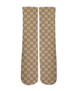 Brown gucci patter printed crew socks - Dope Sox Official