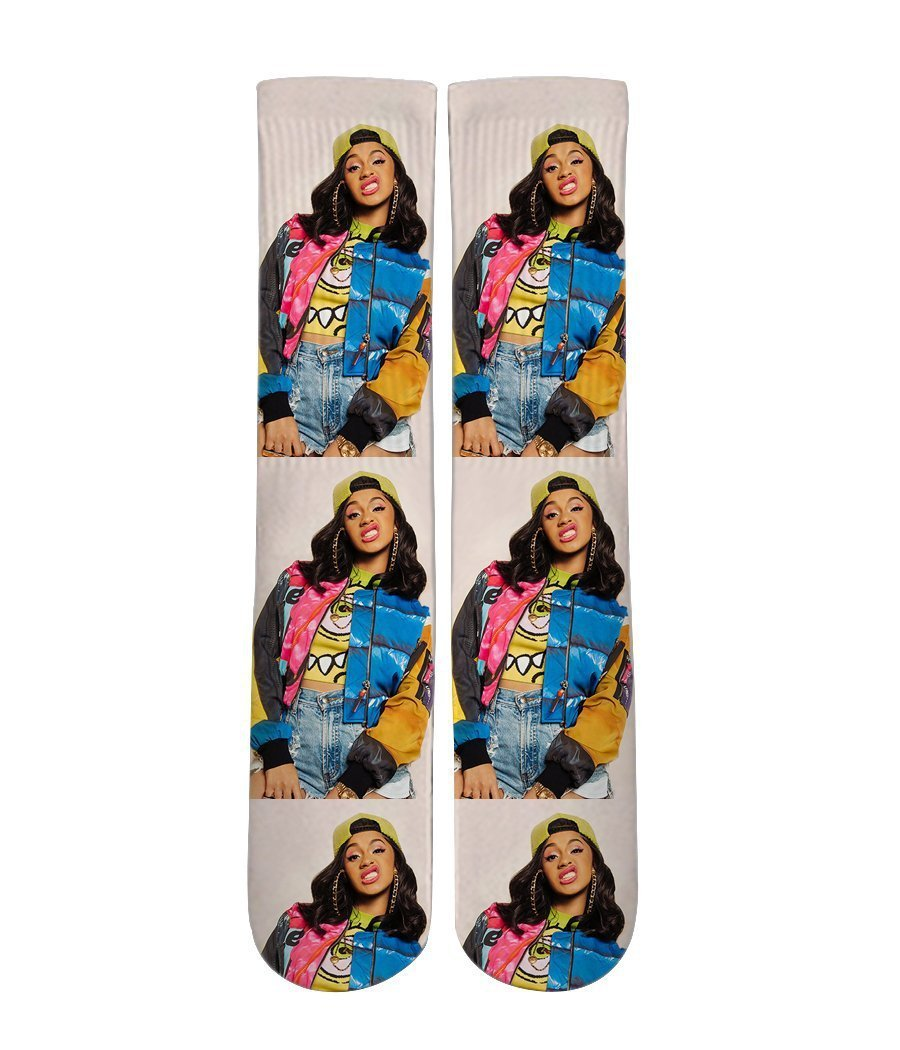 Cardi B Printed Crew socks - Dope Sox Official