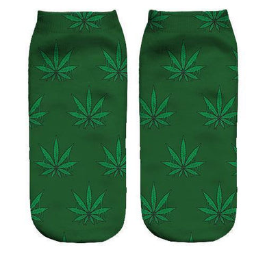 Weed pattern Printed ankle socks - Dope Sox Official