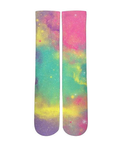 Galaxy rainbow clouds customized elite socks - Dope Sox Official