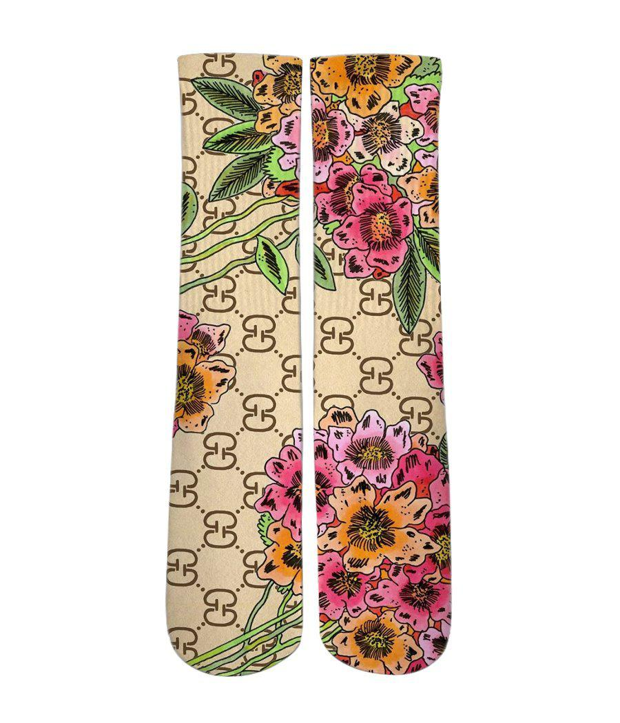 Custom Elite Socks-Gucci floral socks - Dope Sox Official